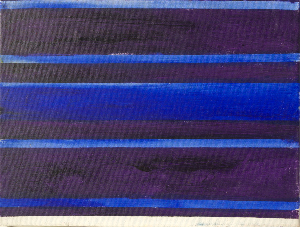 blue shutter scape painting acrylic on cotton